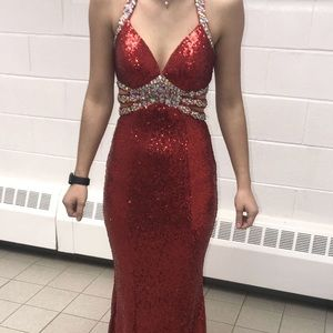 Fitted red sequin prom dress